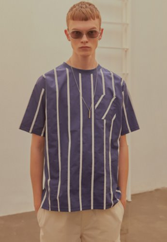 INNER CITY AUDIO이너시티오디오 STRIPE POCKET T-SHIRT NAVY