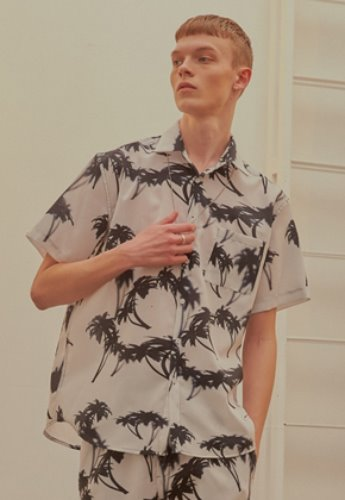 INNER CITY AUDIO이너시티오디오 (FAMILY EVENT) PALMTREE HALF SHIRT WHITE / BLACK