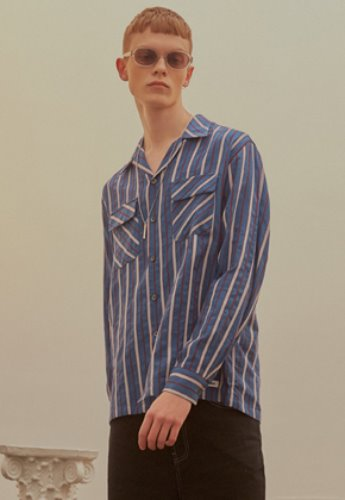 INNER CITY AUDIO이너시티오디오 STRIPE OPEN COLLAR SHIRT NAVY