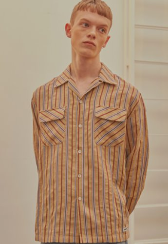 INNER CITY AUDIO이너시티오디오 (FAMILY EVENT) STRIPE OPEN COLLAR SHIRT BEIGE