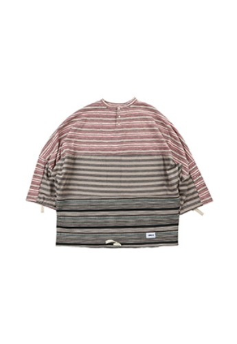 AJO BY AJO아조바이아조 Tri Stripe Henly Neck Sweater [Pink]
