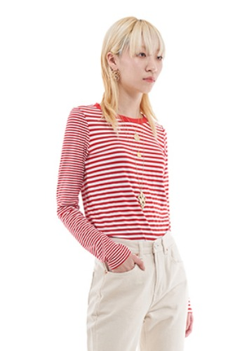 Vuiel뷔엘 UNBALANCED STRIPED JUMPER _ RED