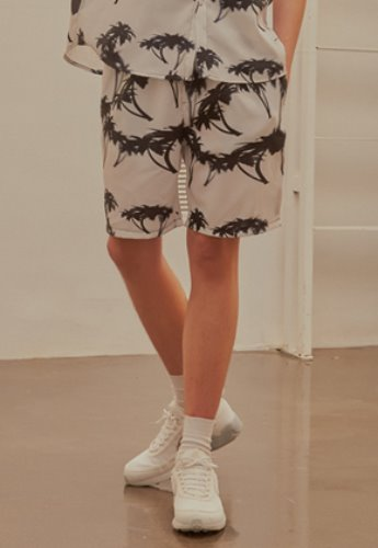 INNER CITY AUDIO이너시티오디오 (FAMILY EVENT) PALMTREE HALF PANTS WHITE / BLACK