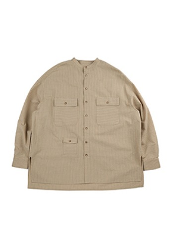 AJO BY AJO아조바이아조 Stripe Tri Pocket Seersucker Shirt [Camel]