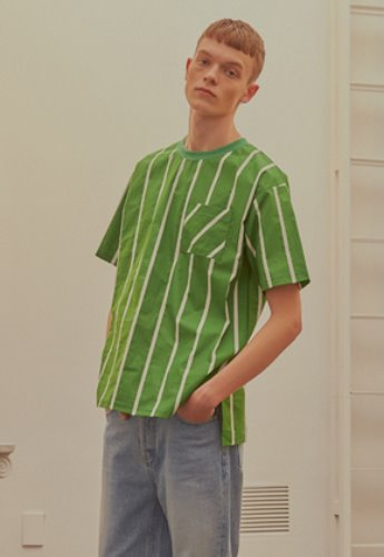 INNER CITY AUDIO이너시티오디오 (FAMILY EVENT) STRIPE POCKET T-SHIRT GREEN