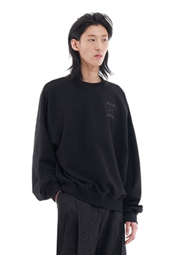 Vuiel뷔엘 UNBALANCED LOGO SWEATSHIRT _ BLACK