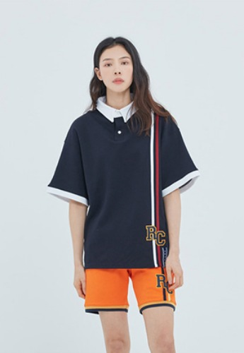 Romantic Crown로맨틱크라운 RC Double Line Polo Shirt_Navy