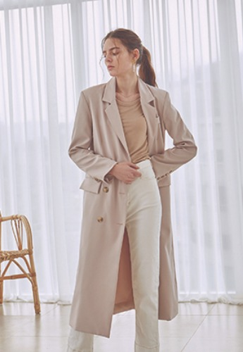 Deans딘스 [DEANS] DOUBLE LINE LONG COAT_LIGHT BEIGE