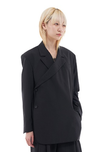 Vuiel뷔엘 TWISED DOUBLE BRESATED BLAZER _ BLACK