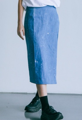 Pig million피그밀리언 [PIGMILLION x DOPAMIN.C] Splash Denim Wrap Skirt (DENIM)
