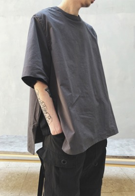 Ooparts오파츠 Side Zip-up Shirts Charcoal