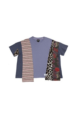 AJO BY AJO아조바이아조 Oversized Mixed T-Shirt [Purple]