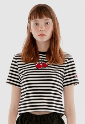 KIRSH키르시 HEART CHERRY CROPPED T-SHIRT IH [STRIPE]