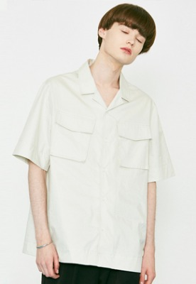 Voiebit브아빗 V456 TWO POCKET HALF-SHIRT  LIGHT GRAY