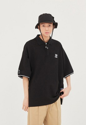 Romantic Crown로맨틱크라운 E.D.V Piping Pique Shirt_Black