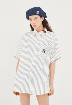Romantic Crown로맨틱크라운 E.D.V Stripe Half Shirt_White