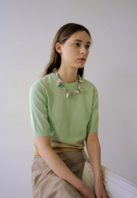 Anderssonbell앤더슨벨 (5월 5주차 출고예정) SHORT SLEEVE PIECE DYEING SWEATER atb323w(MINT/BEIGE)