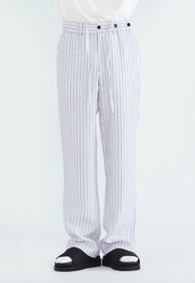 LLUD러드 Stripe Pajama Pants White