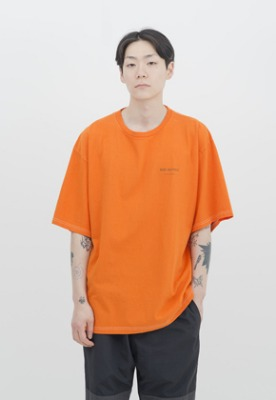 IDEAEND아이디어앤드 Baggy Tuck Half T Shirt (Orange)