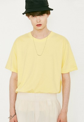 Voiebit브아빗 V367 BASIC OVERFIT HALF-TEE  YELLOW
