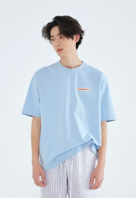 LLUD러드 (LLUD x STU) STU embroidery patch t-shirt S.Blue