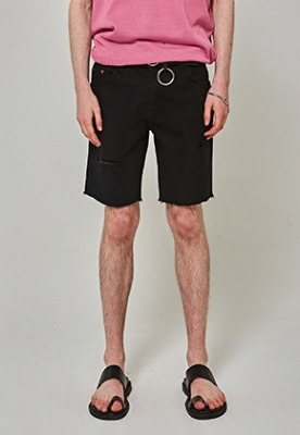 Yan13얀써틴 SCRATCH CUTTING SHORTS_BLACK