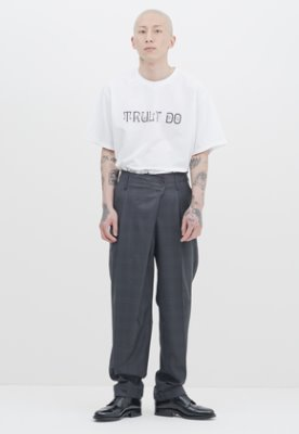 Gakuro가쿠로 Wrap Pants - Wool (Grey Check)