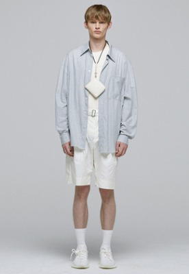 Haleine알렌느 LIGHTGREY gingham checks oversize shirts(IT007)
