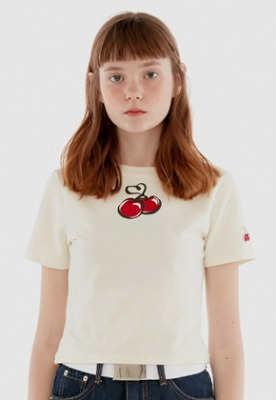 KIRSH키르시 HEART CHERRY CROPPED T-SHIRT IH [WHITE]