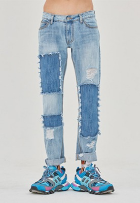 Romantic Crown로맨틱크라운 Washing Destroyed Jeans_Blue