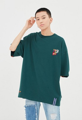 Romantic Crown로맨틱크라운 Splinter Back Line T Shirt_Green