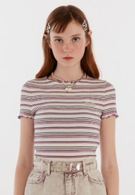 KIRSH키르시 MERROW EDGE STRIPE TEE IH [PURPLE]