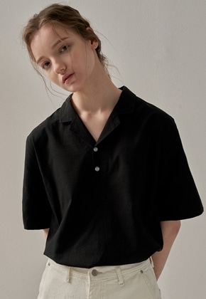 Trip LE Sens트립르센스 CRUISE LINEN PK SHIRTS BLACK