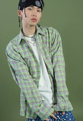 NEONMOON네온문 NEONDUST. 19SM CHECK SHIRT - GREEN