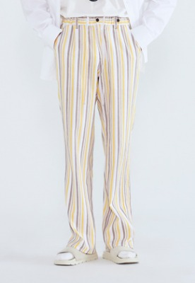 LLUD러드 (LLUD x STU) Stripe Pajama Pants Yellow