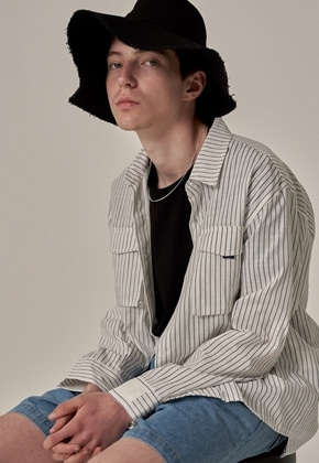 Trip LE Sens트립르센스 TAPE POCKET LINEN SHIRTS WHITE