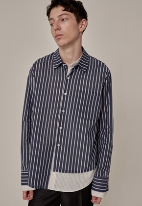 Trip LE Sens트립르센스 ST LAYERED LINEN SHIRTS NAVY