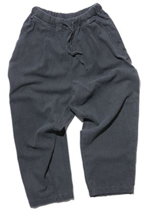 Gongbaek공백 Wide One Tuck Linen Like Pants(Garment Dyeing)_Charcoal Grey