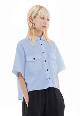 Vuiel뷔엘 CROPPED HALF SLEEVE SHIRT _ SKYBLUE