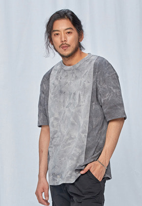 FRIZMWORKS프리즘웍스 Tie dyed coloration tee _ charcoal