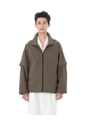 Ooparts오파츠 High-Neck Zip-Up Jacket Olive