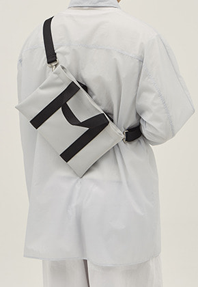 HAH ARCHIVE하 아카이브 4WAY XS SILVER GREY TWILL POLYESTER BAG