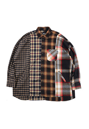 AJO BY AJO아조바이아조 Oversized Check Mixed Shirt (Yellow)