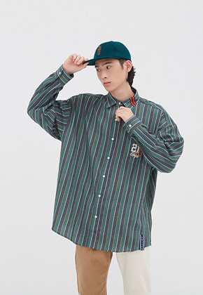 Romantic Crown로맨틱크라운 90S STRIPED SHIRT_GREEN