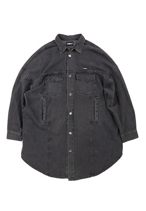 AJO BY AJO아조바이아조 Oversized Washed Denim Jacket [Charcoal]
