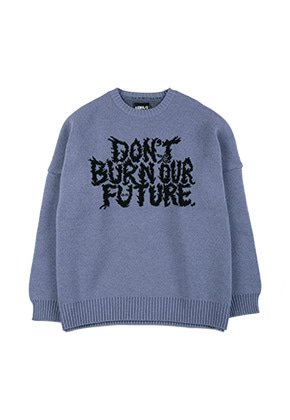 AJO BY AJO아조바이아조 Oversized Slogan Wool Knit Sweater [Lilac]