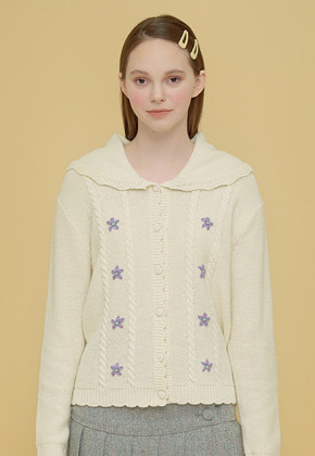 Margarin Fingers마가린핑거스 FLOWER SAILOR CARDIGAN CREAM