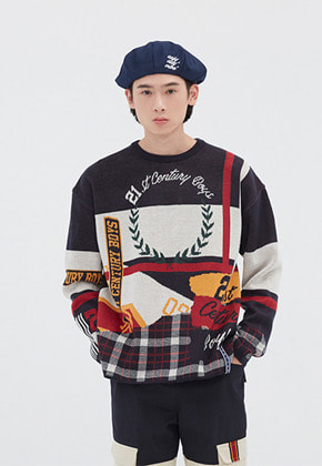 Romantic Crown로맨틱크라운 ROUND NECK JACQUARD KNIT_NAVY