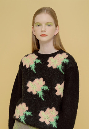 Margarin Fingers마가린핑거스 FLOWER JACQUARD KNIT BLACK