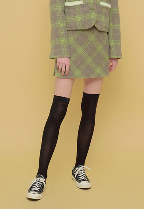 Margarin Fingers마가린핑거스 SCALLOP SLIT SKIRT GREEN CHECK